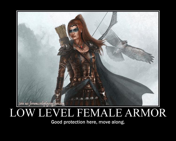 Fantasy female armor meme